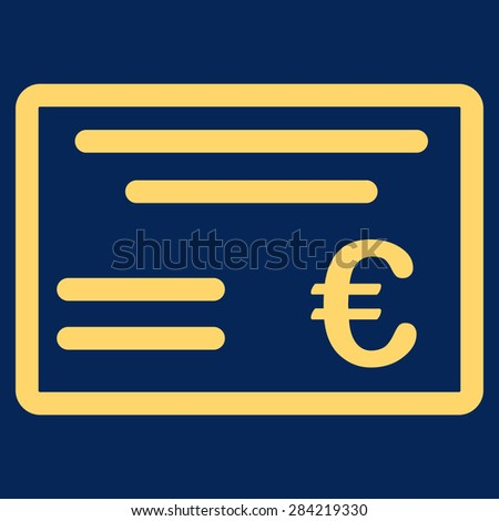 Cheque from BiColor Euro Banking Icon Set. Glyph style: flat, yellow symbol, rounded angles, blue background. - stock photo