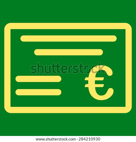 Cheque from BiColor Euro Banking Icon Set. Glyph style: flat, yellow symbol, rounded angles, green background. - stock photo