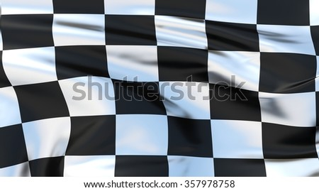 chequered Flag. 3d illustration - stock photo