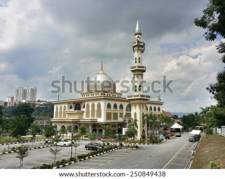 CHERAS, KUALA LUMPUR, MALAYSIA-AUGUST 10, 2014: Al Mukhlisin masjid (mosque) in Cheras, Kuala Lumpur. Islam is the official religion of Malaysia. - stock photo