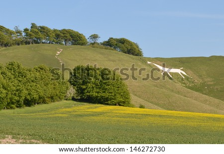 Cherhill White Horse View in Summer - stock photo