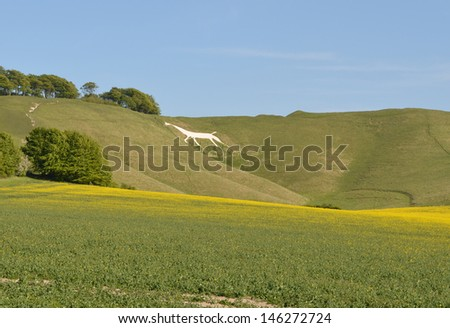 Cherhill Wiltshire View with Chalk Horse - stock photo