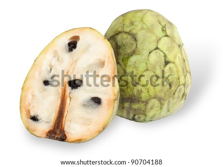 Cherimoya fruit isolated on white