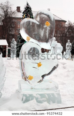 CHERKASSY, UKRAINE - FEBRUARY 14: Exhibition of ice sculptures on display at the  Euro 2012 championship festival on February 14, 2012 in Cherkassy, Ukraine - stock photo