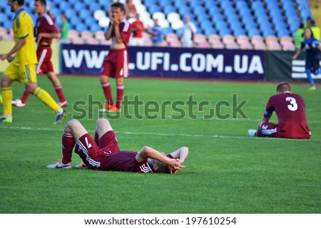 CHERKASSY, UKRAINE - JUNE 8: Football players during qualifying match youth national teams for the European Championships 2015 between Ukraine U21 - Latvia U21, 8 June 2014, Cherkassy, Ukraine