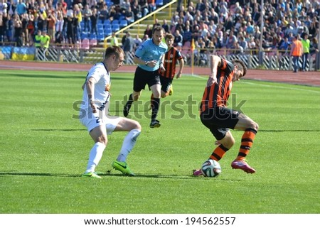 CHERKASSY, UKRAINE - MAY 7: Facundo Ferreira (R) in action during the semifinal match of the Cup of Ukraine on football between FC Slavutich - FC Shakhtar Donetsk, 7 May 2014, Cherkassy, Ukraine