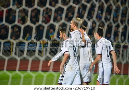 CHERKASSY, UKRAINE - OCT 10: German football team celebrates goal scored during the play-off match UEFA Euro 2015 Ukraine U21 0-3 Germany U21, 10 October 2014, Cherkassy, Ukraine