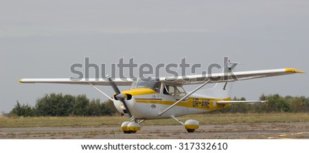 CHERKASSY, UKRAINE - SEPTEMBER 12, 2015: airshow small aircraft on September, 2015 in Cherkassy, Ukraine