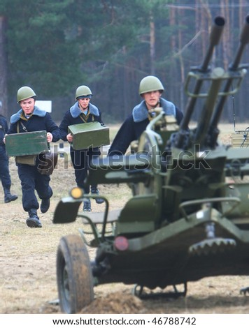 CHERNIGIV REGION, UKRAINE - MARCH 24: A cadet of the 169th Training Centre of Ukraine's Land Armed Forces show their skills passing military exams on March 24, 2008 in Chernihiv region, Ukraine