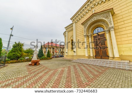 CHERNIVTSI, UKRAINE - OCT 8, 2017: Church of St. Paraskeva. Architecture in the old town Chernivtsi. Western Ukraine. Day of the city.