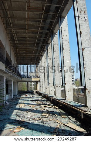 Chernobyl area. Lost city of Pripyat. Modern ruins, Theatre indoor. Ukraine, Kiev region, April 25, 2009.