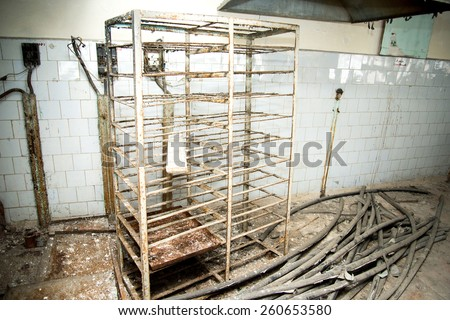 Chernobyl disaster, kitchen one of the buildings in Pripyat