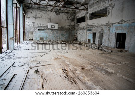 Chernobyl disaster, school of Pripyat, gym