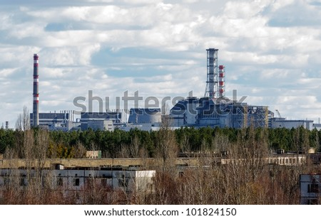 Chernobyl Nuclear Power Plant from afar, 2012 March 14 - stock photo