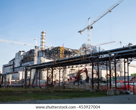 CHERNOBYL, UKRAINE -  OCTOBER 16, 2015: Construction of New Safe Confinement (or New Shelter) at Chernobyl Nuclear Power Plant over the nuclear reactor destroyed by Chernobyl disaster in 1986.