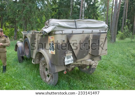 "CHERNOGOLOVKA, MOSCOW REGION, RUSSIA - JUNE 21, 2013: German retro car Steyr 1500A/02 kfz.69, the 3rd international meeting of ""Motors of war"" near the city Chernogolovka, Moscow region, rear view"