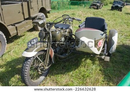 "CHERNOGOLOVKA, MOSCOW REGION, RUSSIA -JUNE 21, 2013:  Japanese old military Rikuo motorcycle Type 97 at the 3rd international meeting of ""Motors of war"" near the city Chernogolovka"