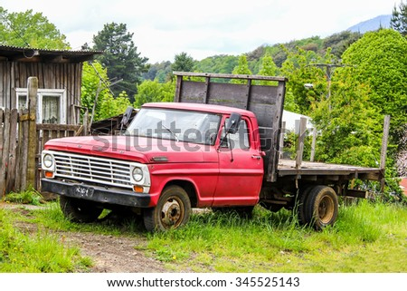 CHERQUENCO, CHILE - NOVEMBER 22, 2015: Pickup truck Ford F-350 at the countryside.