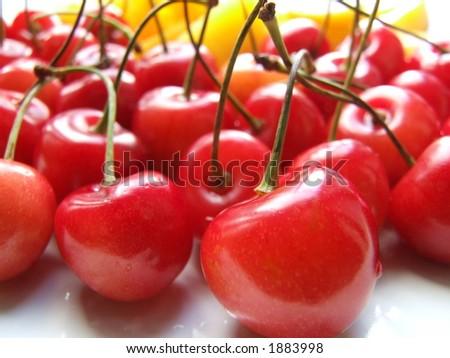 Cherri and peach - stock photo