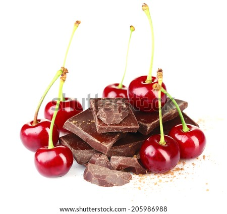 Cherries and chopped chocolate isolated on white - stock photo