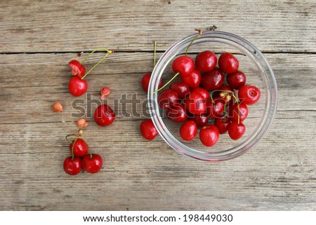 Cherries Cherries in bowl on wooden table - stock photo