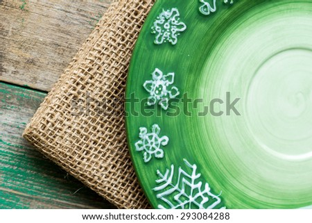 Cherries in a green  Christmas plate - stock photo