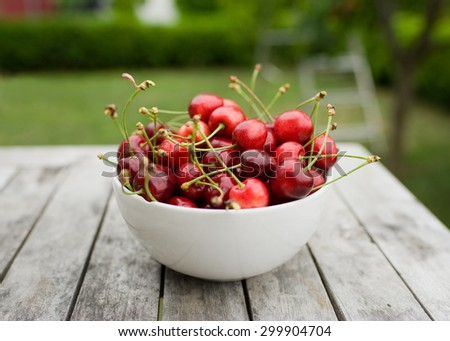 Cherries in bowl in home garden