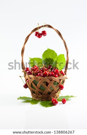 cherries in the basket