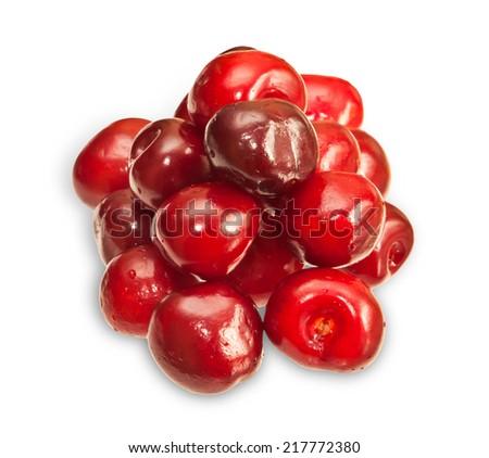 Cherries isolated on white background   - stock photo