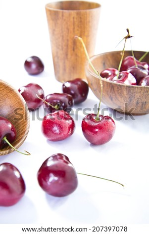 Cherries on isolated background