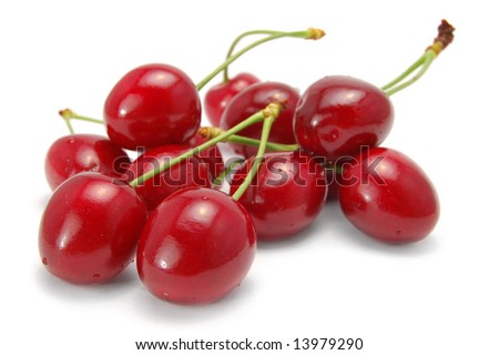 cherries on white background