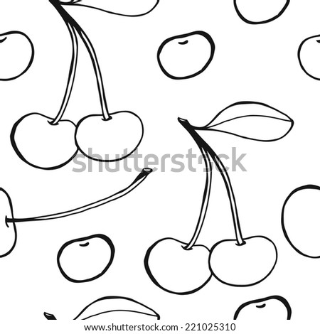 Cherries - seamless  pattern, sketchy black and white hand drawn illustration