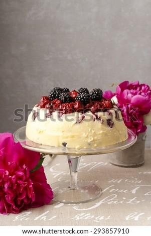 Cherry and blackberry cheesecake - stock photo