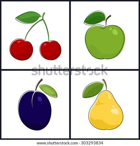 Cherry, Apple, Plum, Pear , Isolated on White Background , Set of Fruit Icons - stock photo
