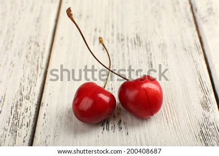 Cherry berries on table close-up