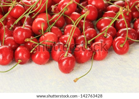 Cherry berries on wooden table
