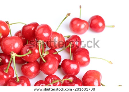 Cherry berry isolated on white background cutout - stock photo