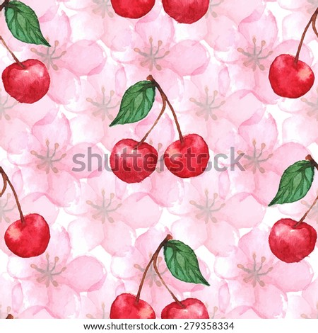 Cherry blossom berries seamless pattern texture background - stock photo