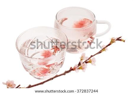 Cherry blossom(sakura)  japanese Herb tea - stock photo