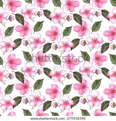 Cherry blossom sakura seamless pattern texture background - stock photo