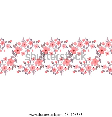 Cherry blossom. Watercolor floral background. Beautiful seamless border