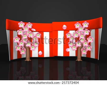 Cherry Blossoms And Red-White Curtains On Black Background. 3D render illustration. Spring Image.