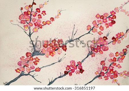 Cherry blossoms on a tinted background. The dabbing technique gives a soft focus effect due to the altered surface roughness of the paper.