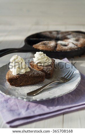 Cherry cake with whipped cream