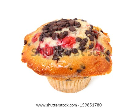 Cherry Chocolate Chip Muffin Isolated On White Background - stock photo