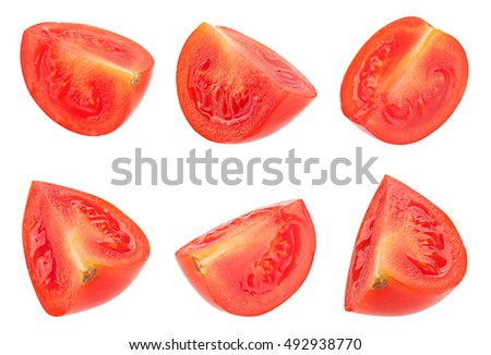 Cherry collection tomato vegetable closeup isolated on white