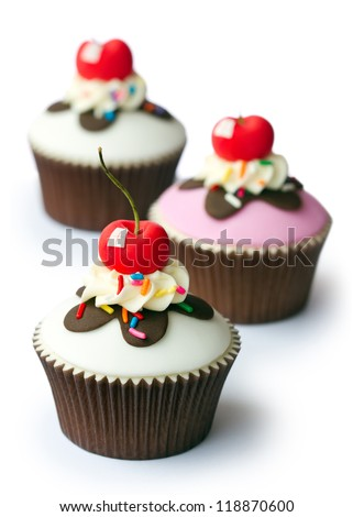 Cherry cupcakes - stock photo