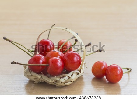 Cherry in a small decorative basket.Selective focus