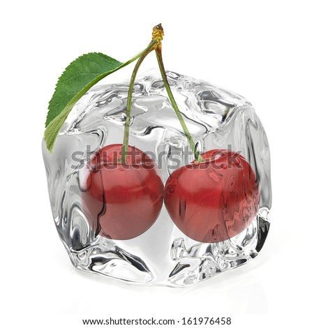 Cherry in ice isolted on white background - stock photo