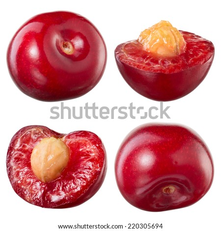 Cherry isolated on white background. Collection - stock photo